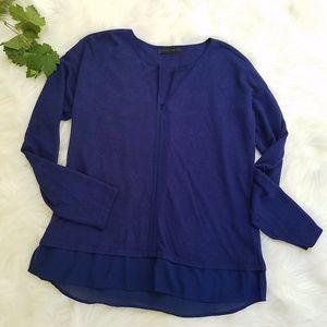Sanctuary Blue Split V-neck High Low Sweater Top